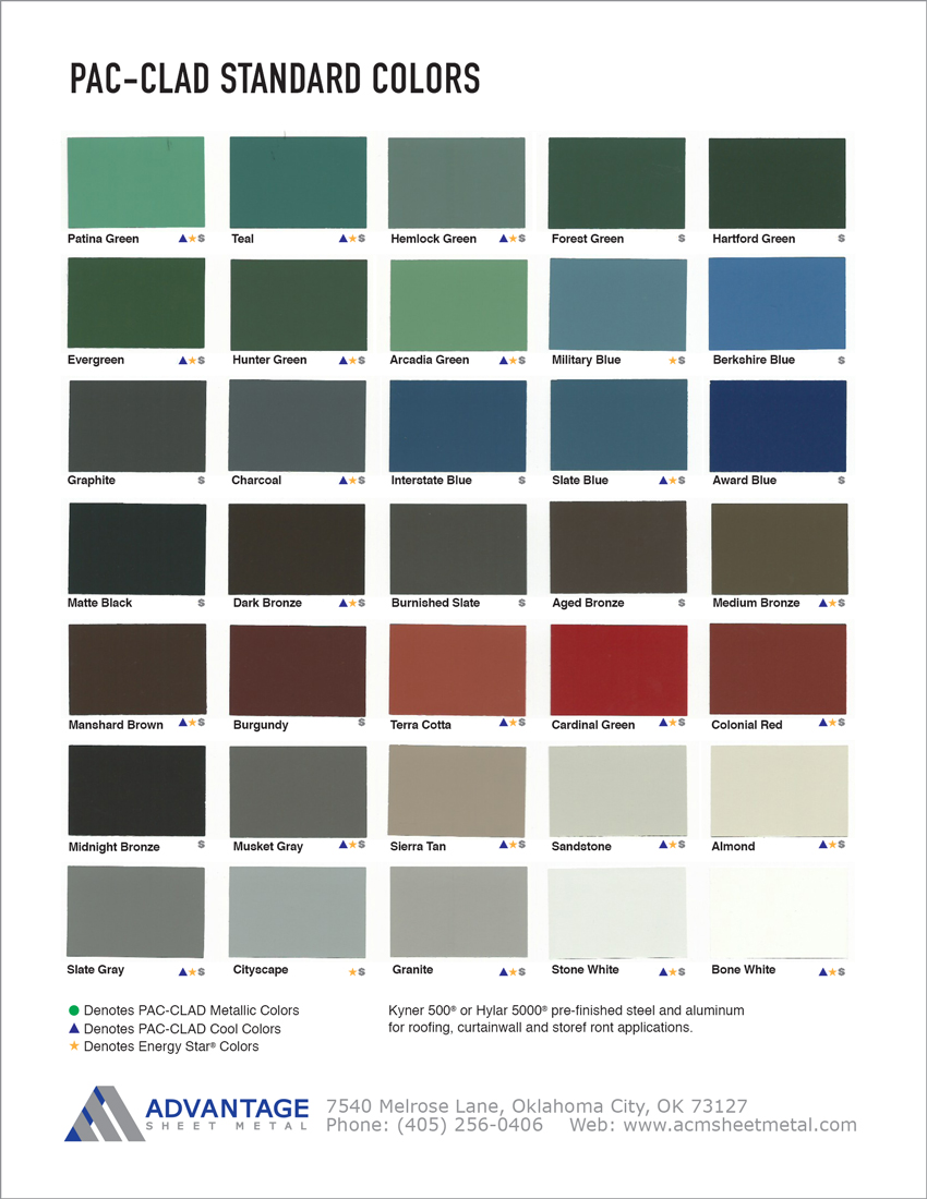 Pac Clad Standard Color Chart Advantage Sheet Metal In