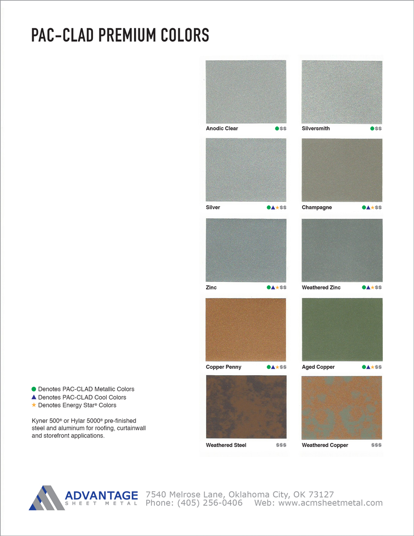 Pac Clad Premium Color Chart Advantage Sheet Metal In